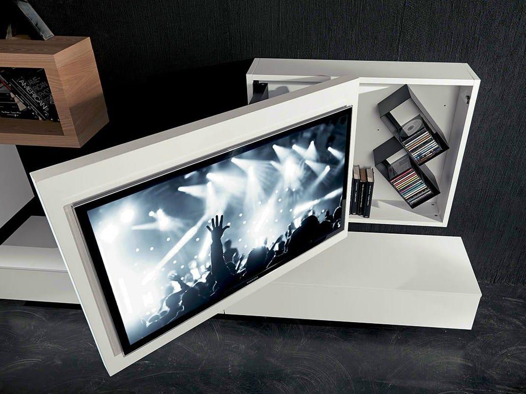 Mobile tv laccato orientabile sospeso rack box by fimar for Mobile tv sospeso