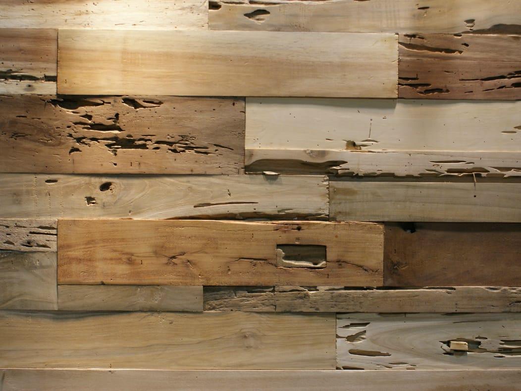 Piastrelle con superficie tridimensionale in legno di recupero rayab by teakyourwall - Piastrelle di legno ...