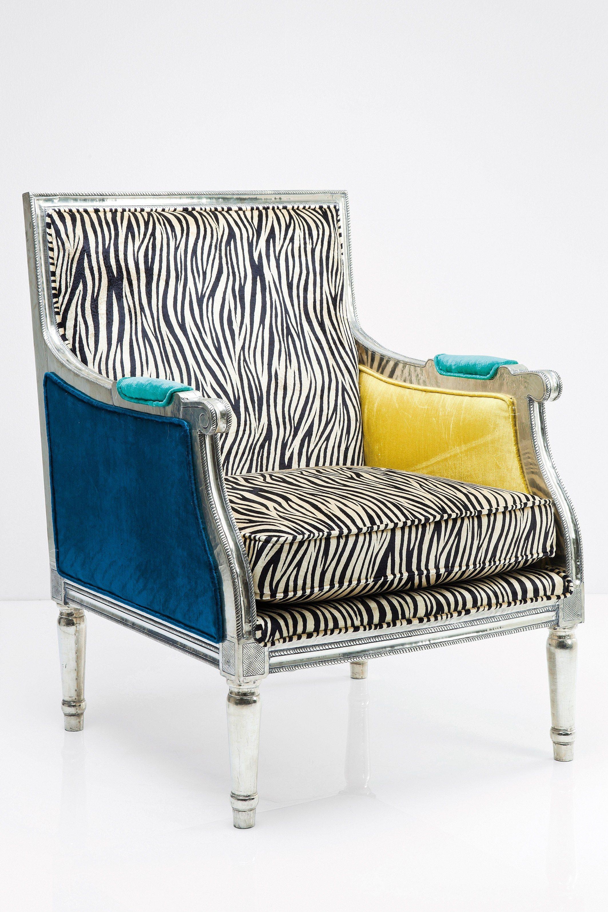 Poltrona imbottita in tessuto con braccioli regency zebra for Poltrona kare design