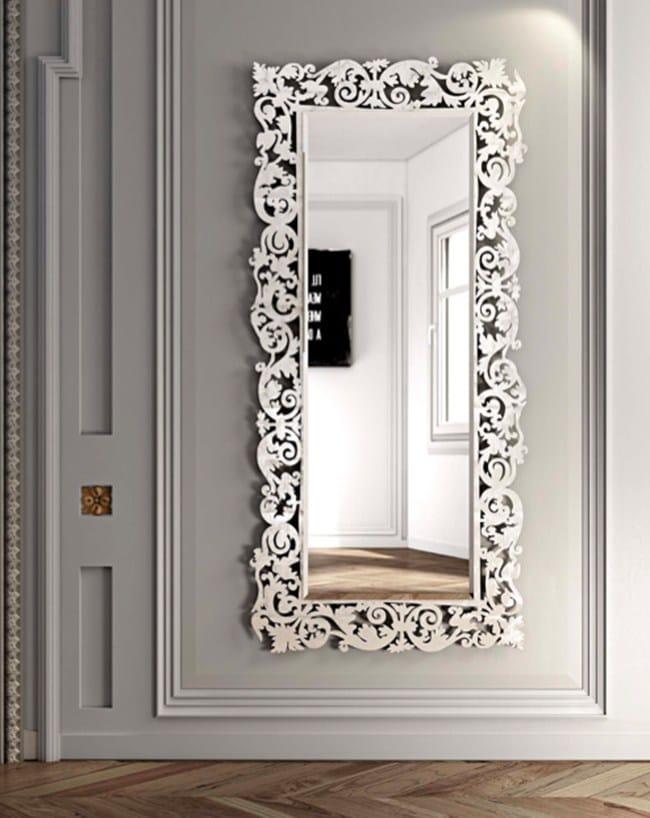 Specchio rettangolare a parete con cornice romantico for Specchio da parete argento