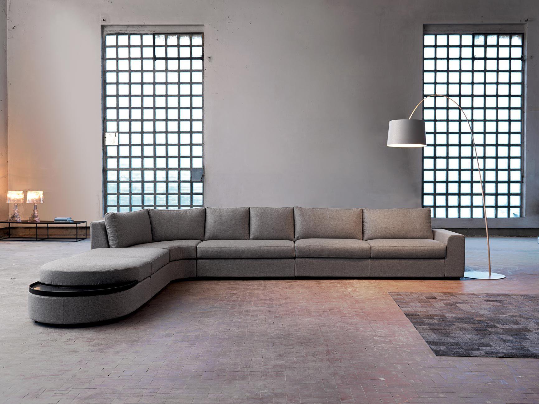 Divano angolare in tessuto con chaise longue sander for Salotti particolari