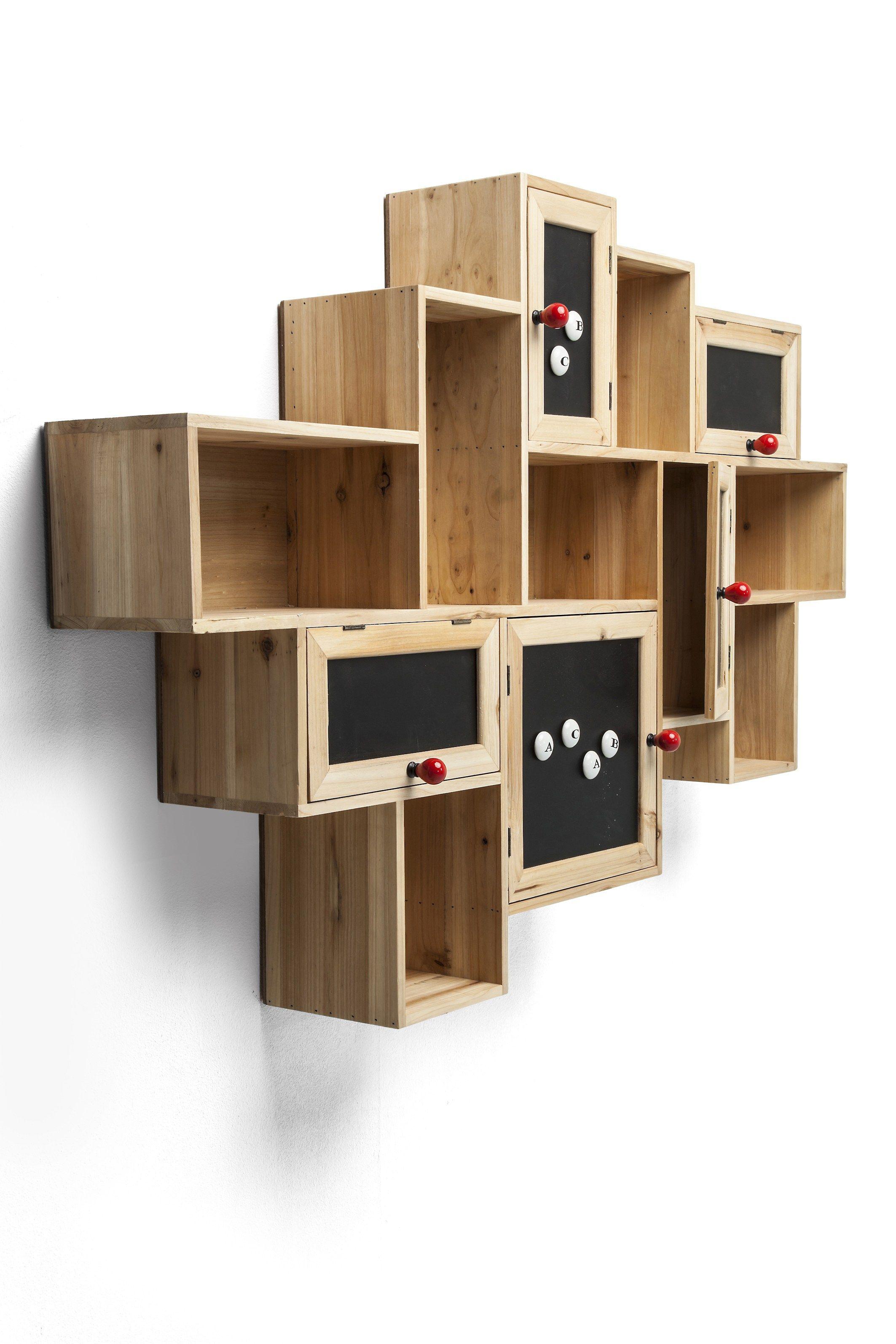 Libreria a parete in abete con cassetti schools out by for Mobili kare design