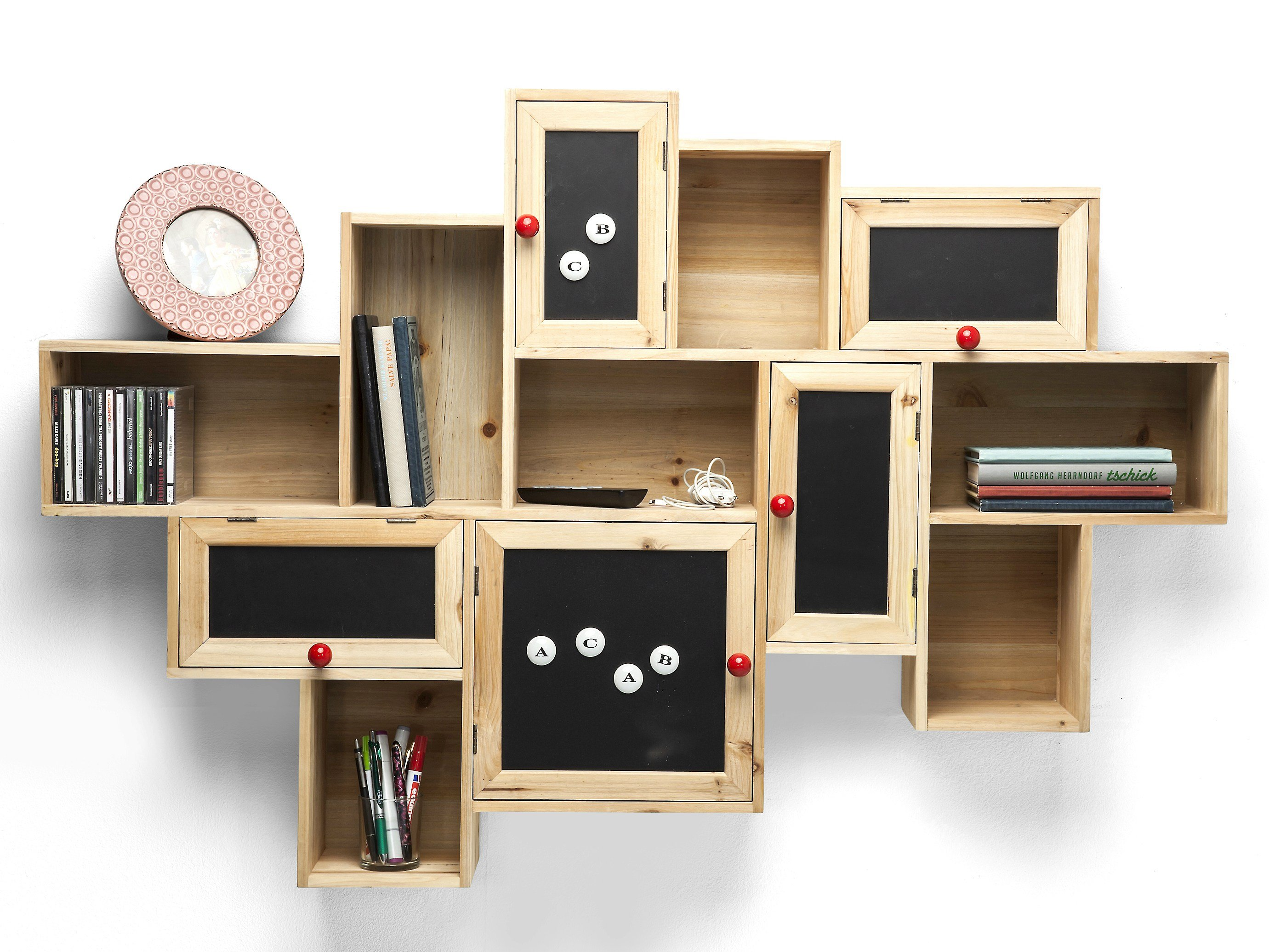 Wall Mounted Spruce Bookcase With Drawers Schools Out By