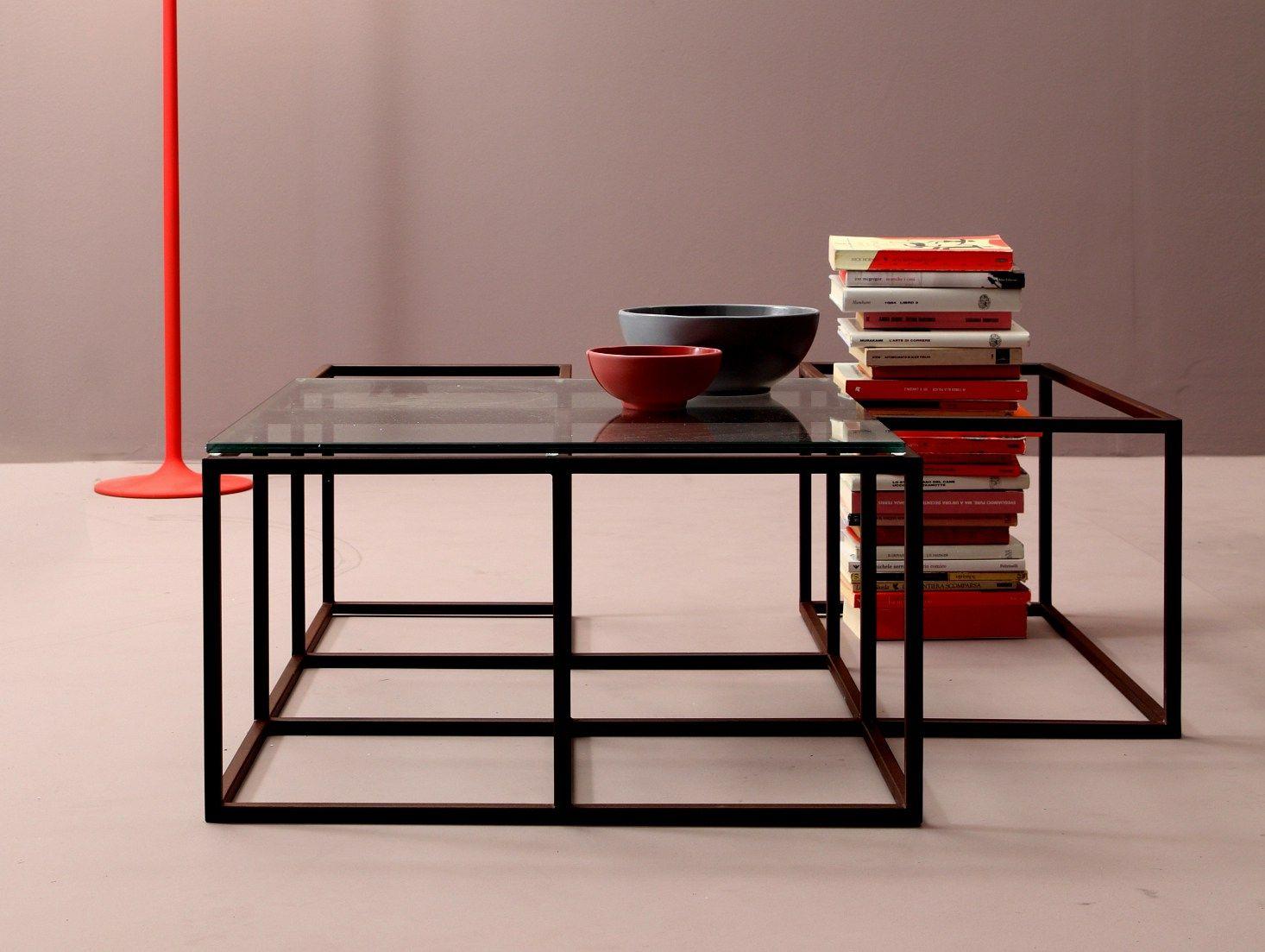 Tavolino in acciaio e vetro da salotto collezione set by for Tavoli di vetro da salotto