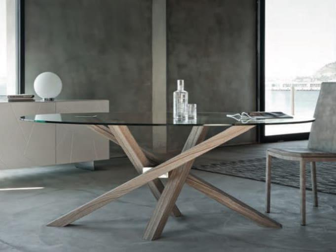 Tavolo in legno e vetro collezione shangai by riflessi