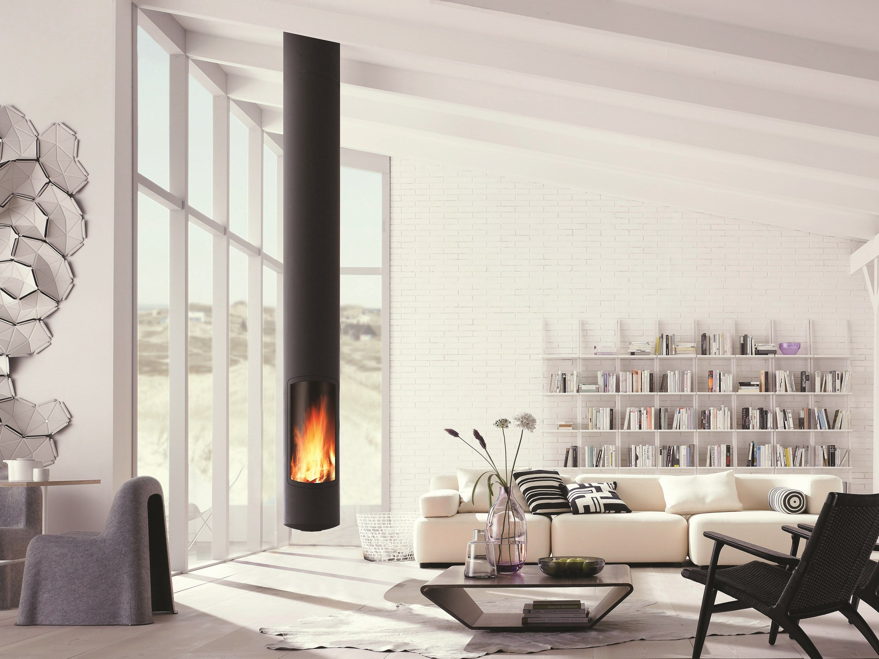 Wood Burning Central Hanging Fireplace Slimfocus Slimfocus Collection By Focus Design Dominique