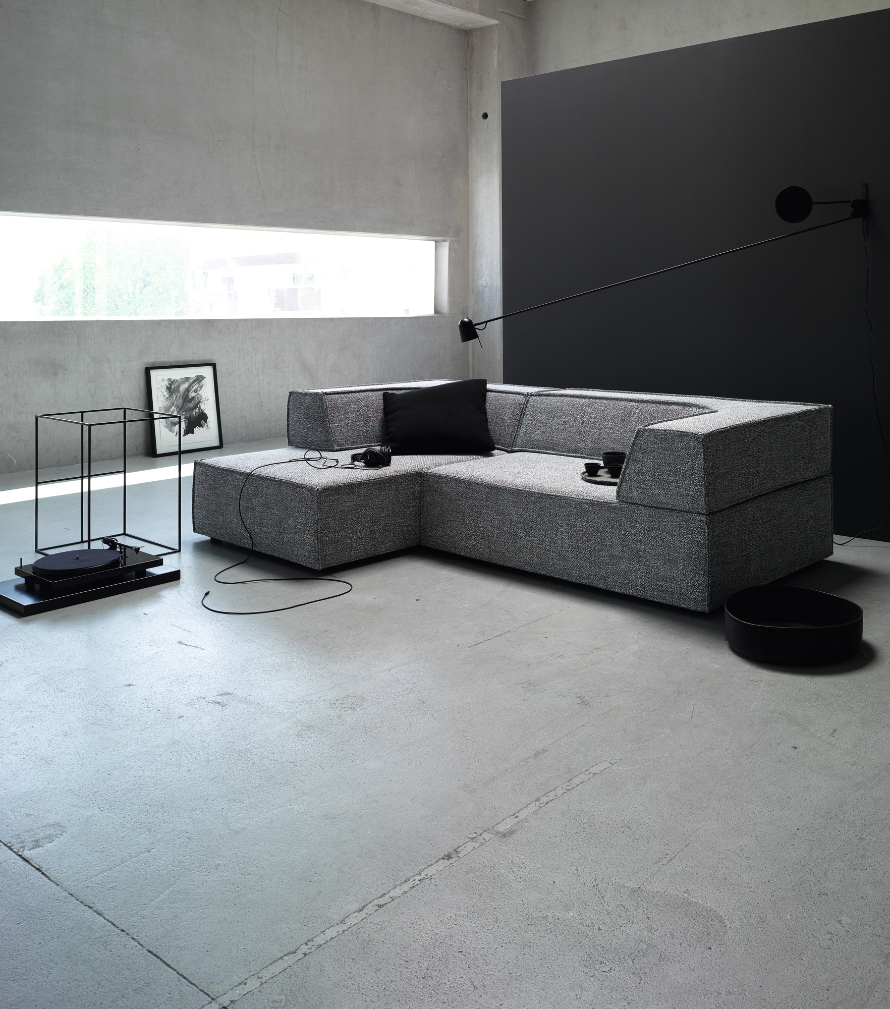 Trio sofa with chaise longue trio collection by cor for Chaise design eams