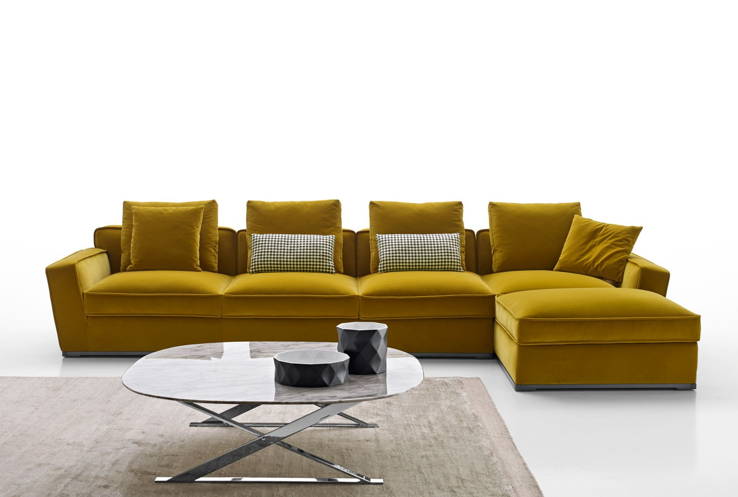 Solatium sofa with chaise longue solatium collection by for Chaise longue salon