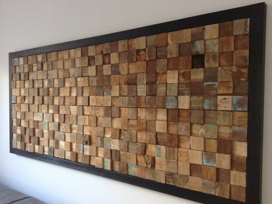 Reclaimed Wood 3d Wall Tile Square By Teakyourwall