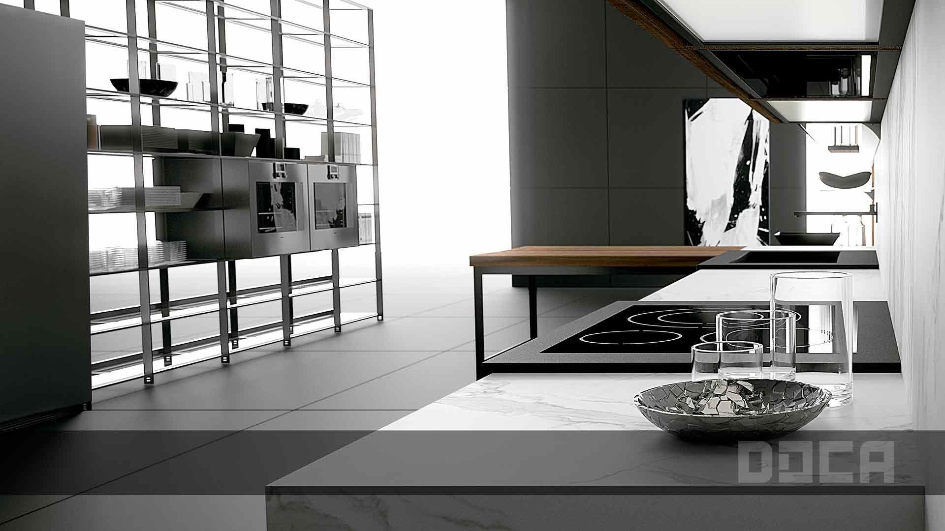 Cucina componibile sr nogal 5n luxury stone artemis by doca for Artemis muebles