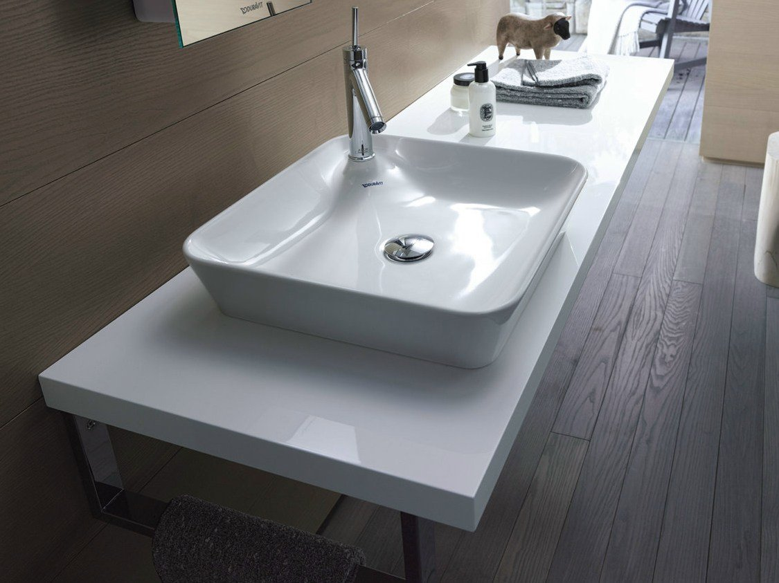 Vasque poser en c ramique collection starck 1 by duravit design philippe starck - Vasque een poser duravit ...