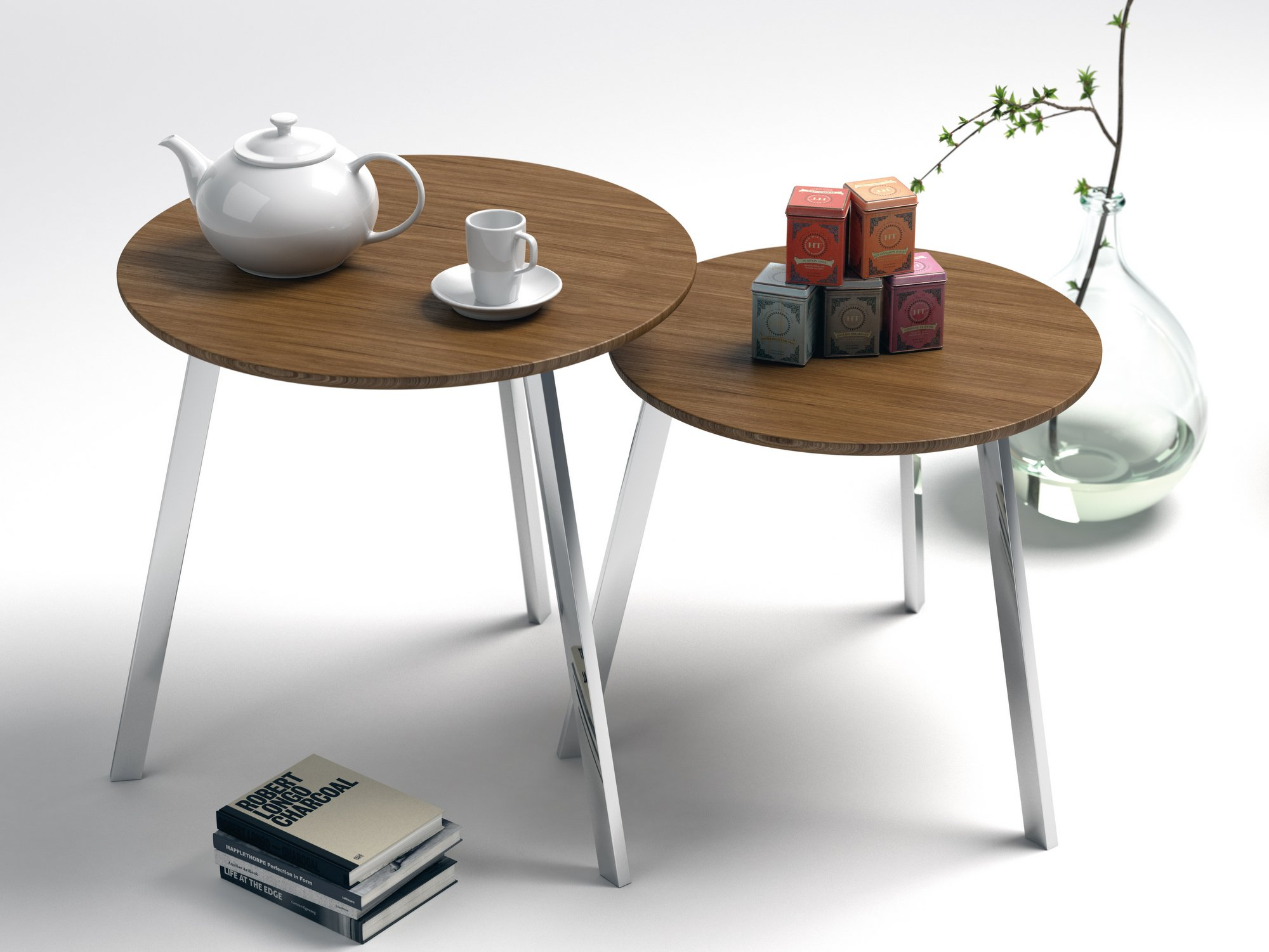 Stil steel and wood coffee table stil collection by for Minimal table design