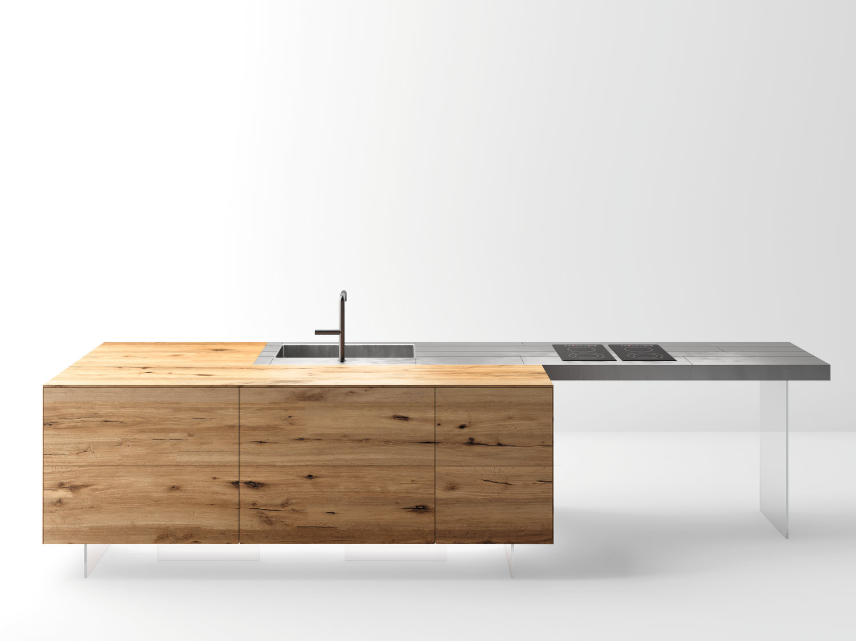 Top cucina tavolo a penisola in acciaio e legno steel - Tavolo a penisola ...