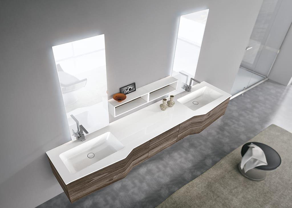 Mobile lavabo doppio sospeso con specchio str8 05 by geromin giuseppe design arter citton - Lavabo sospeso con mobile ...