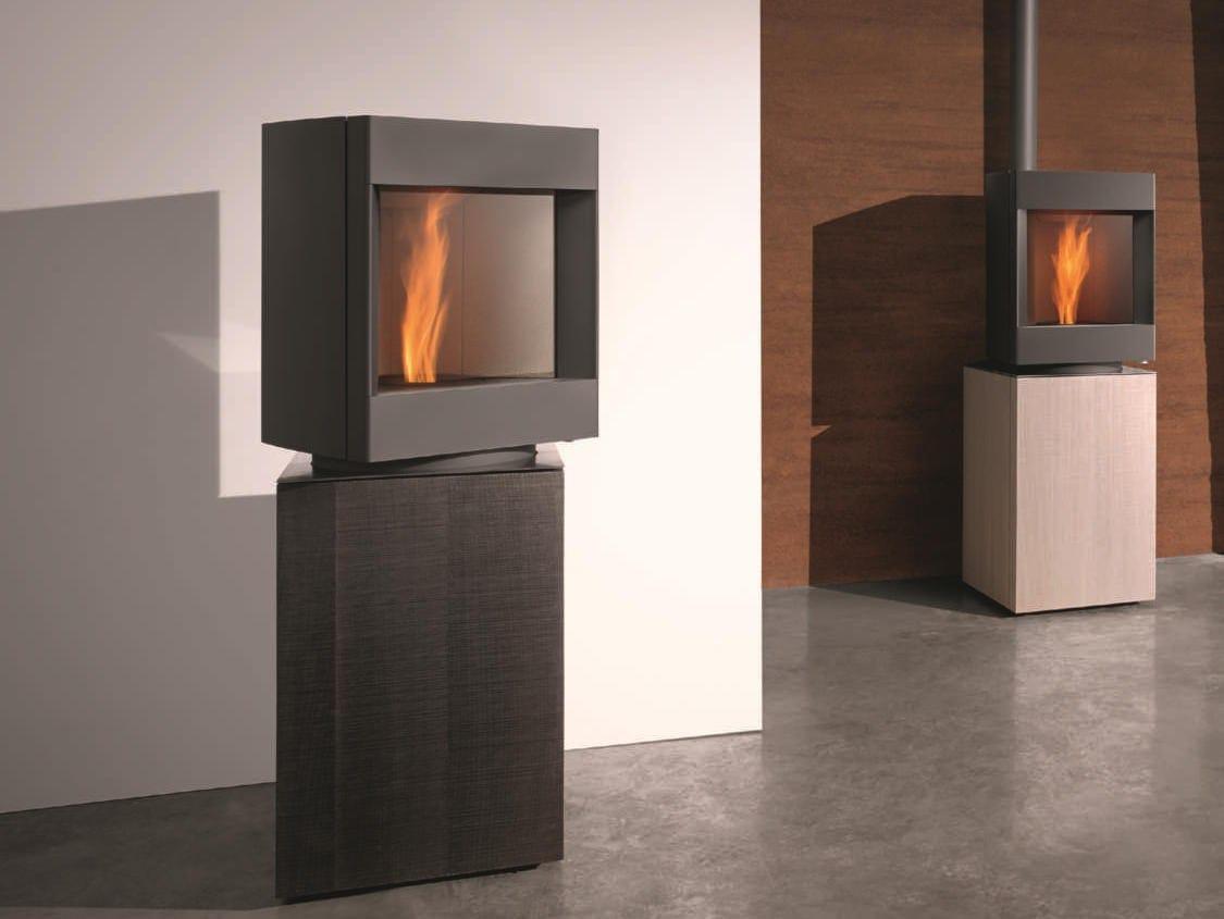 St v p 10 stufa in acciaio e legno by st v - Stufa a pellet silenziosa ...