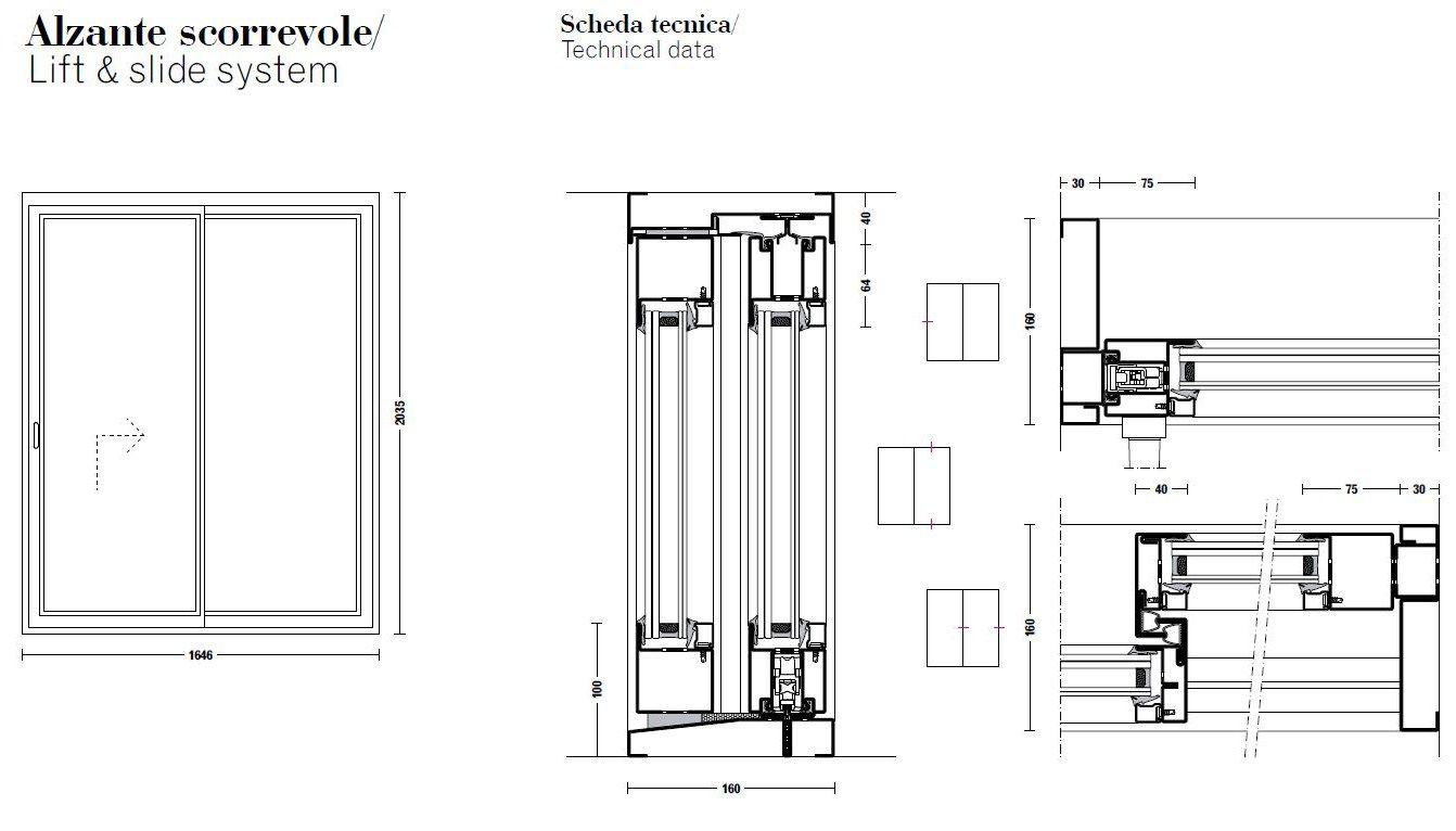 Tabs finestra alzante scorrevole by palladio - Scheda tecnica finestra ...