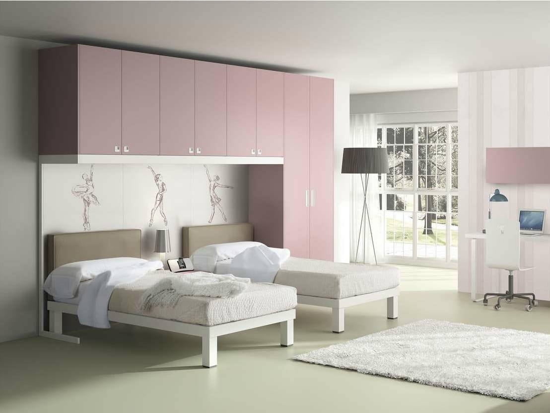 Chambre avec pont de lit pour fille tiramolla 928 for Chambre lit pont but