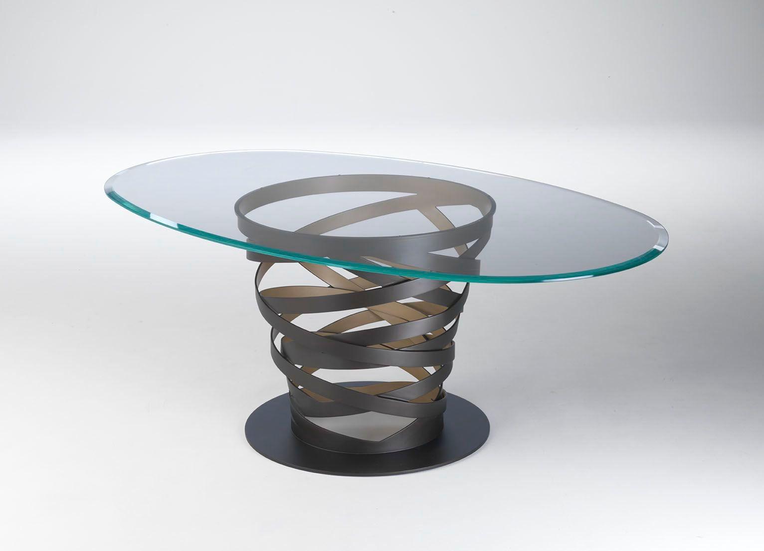 Tavolo ovale in acciaio e vetro twist gold by paolo - Tavolo ovale vetro ...