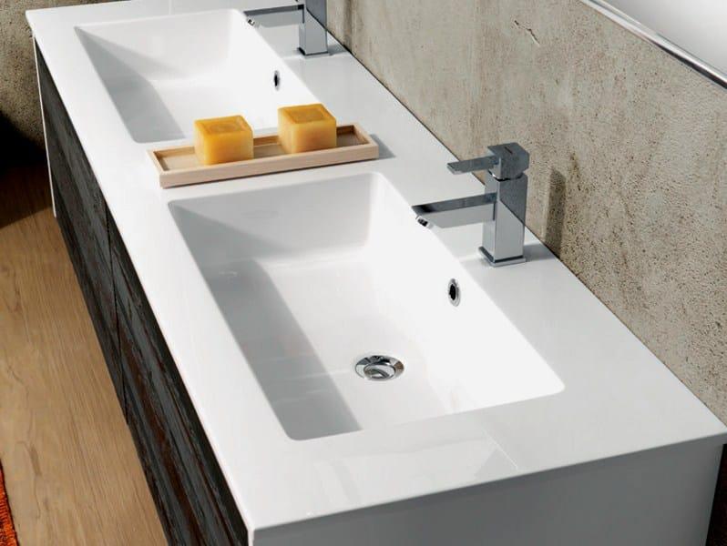 Mobile lavabo doppio sospeso con cassetti v60 by mobiltesino - Lavabo sospeso con mobile ...