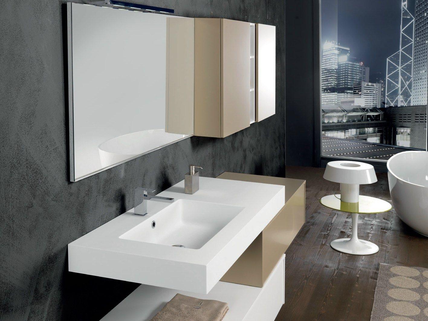 Mobile lavabo laccato sospeso con armadio v65 by mobiltesino - Lavabo sospeso con mobile ...