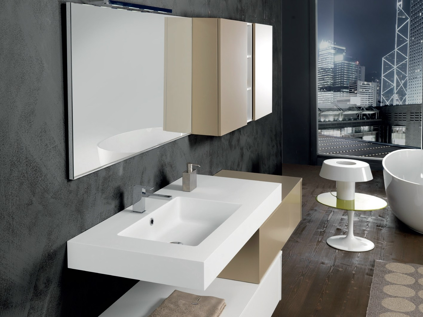 Mobile lavabo laccato sospeso con armadio v65 by mobiltesino for Bagno arredo design