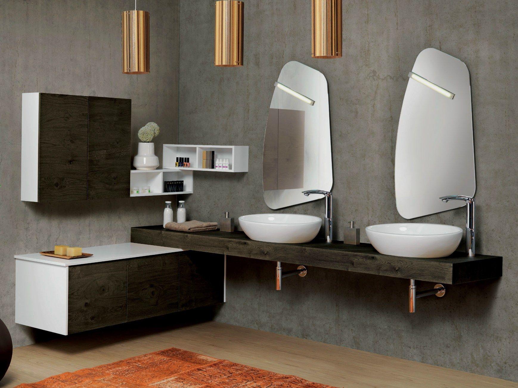 Mobile lavabo angolare doppio sospeso V69 by Mobiltesino
