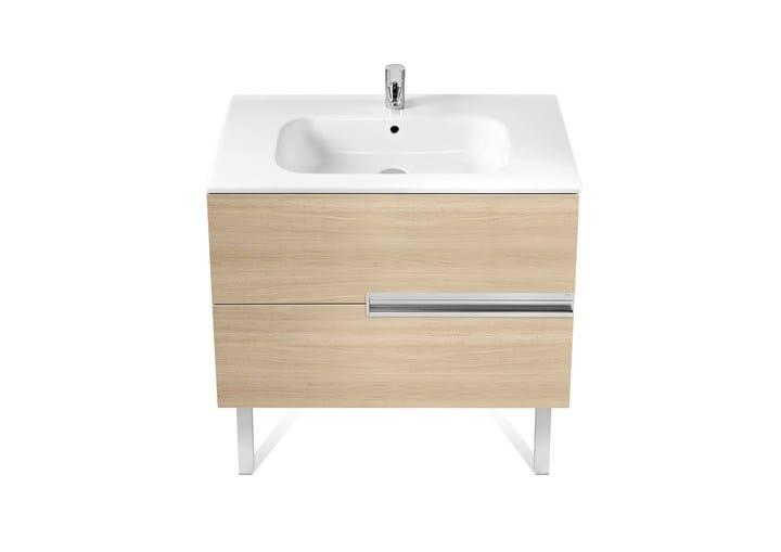 Mobile lavabo singolo in legno con cassetti Collezione ...