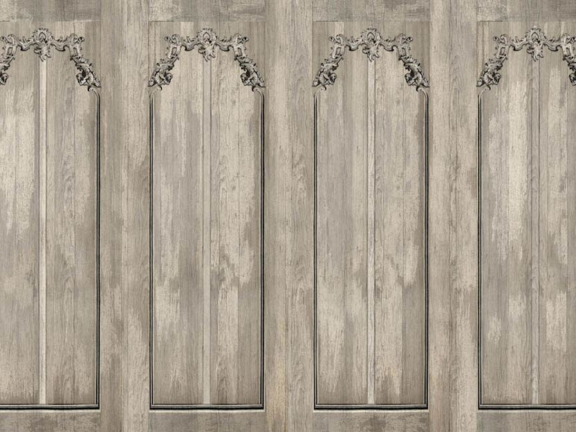 Scraped boiserie linea ageless by wallpepper design for Carta da parati finta boiserie