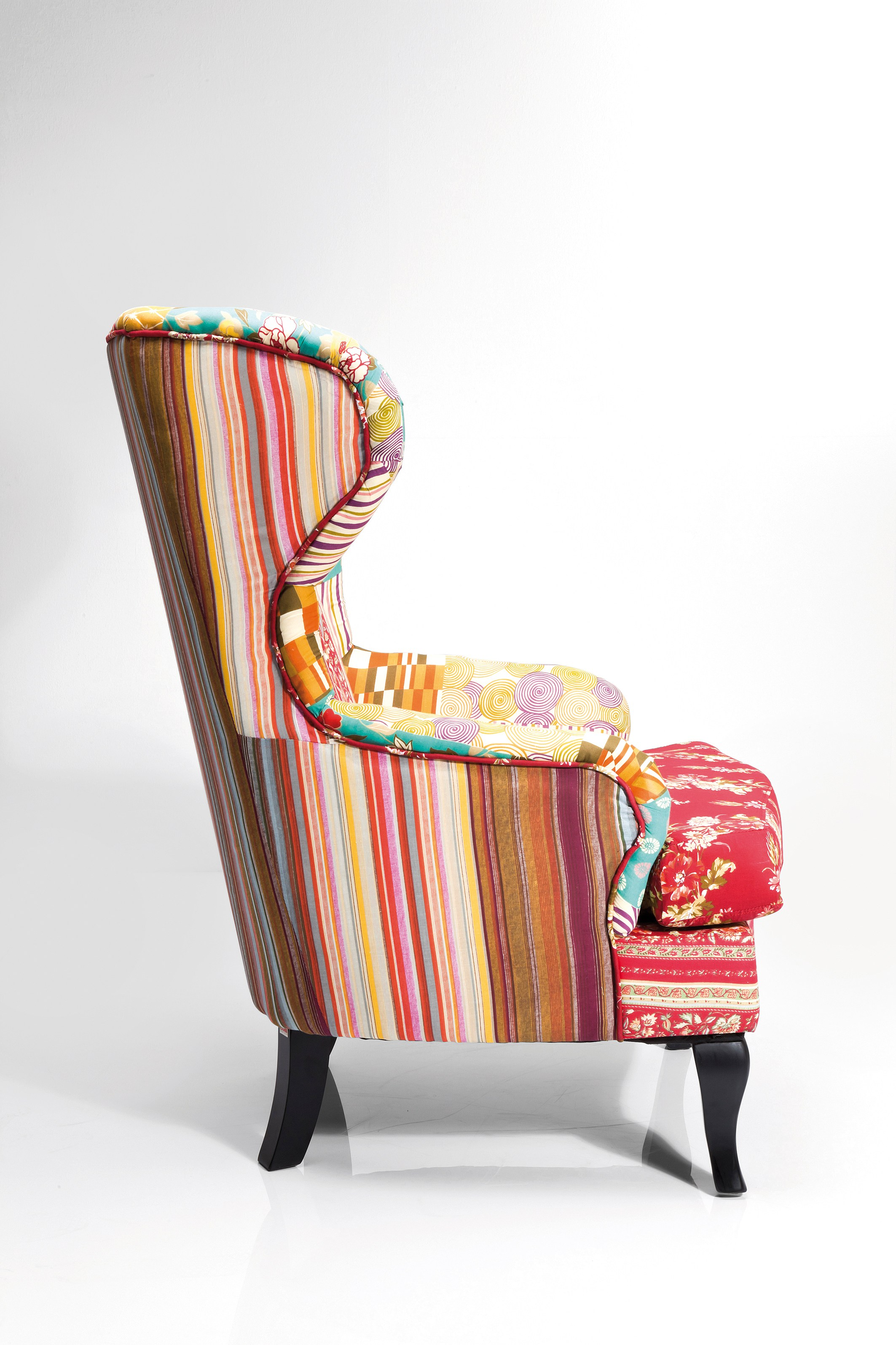 Upholstered Fabric Armchair With Armrests Wing Chair Patchwork Red By Kare Design