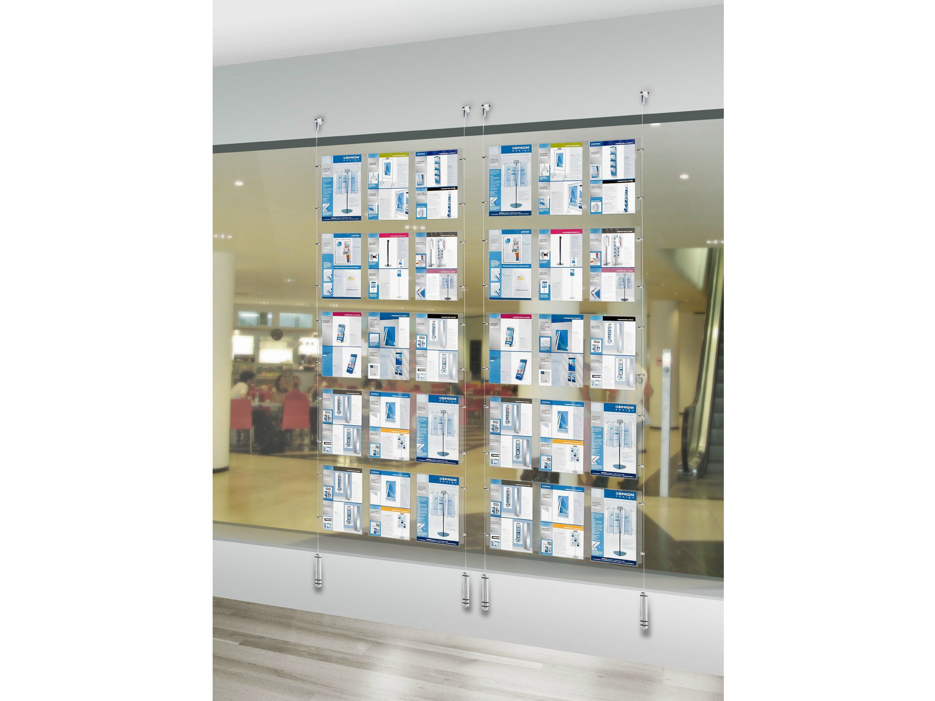pr sentoir mural en plexiglas ww display by geprom design. Black Bedroom Furniture Sets. Home Design Ideas