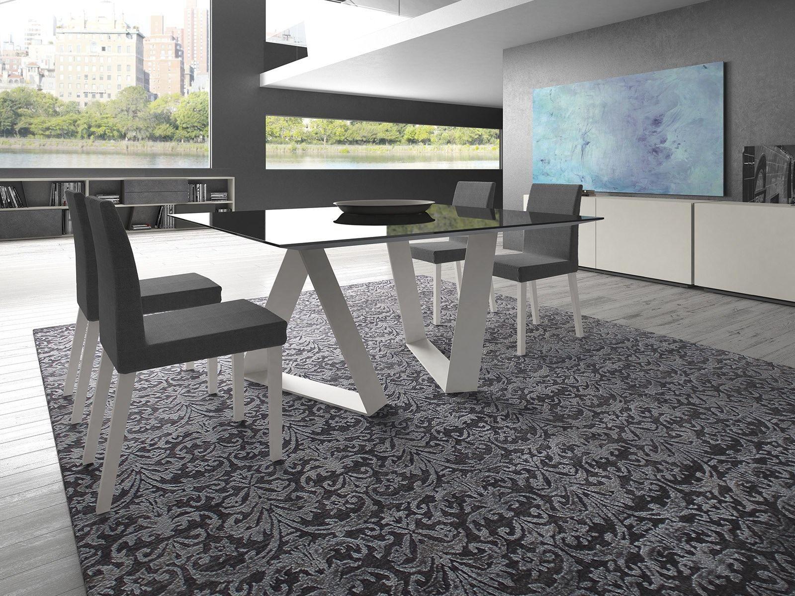 Tavolo rettangolare in vetro zaffiro by presotto industrie for Presotto mobili prezzi