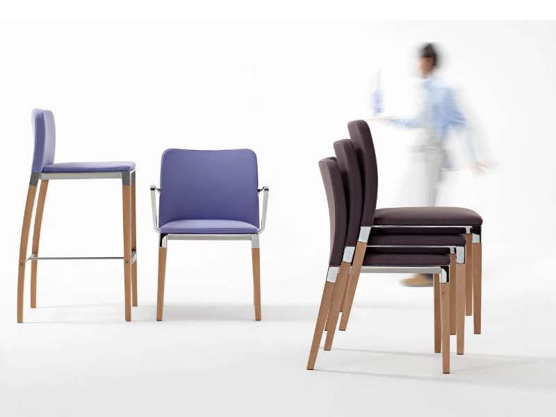 Upholstered stackable chair ZENITH S0002 By Segis design Carlo Bimbi