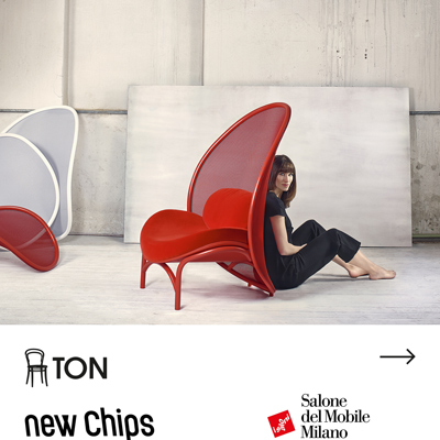 Lounge chair in tessuto a rete: Chips by TON