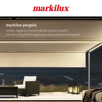 Pergola Markilux con luce LED: proteggiti da sole, pioggia, vento