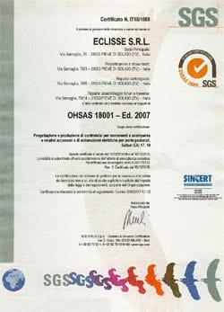 Eclisse ottiene la certificazione OHSAS 18001