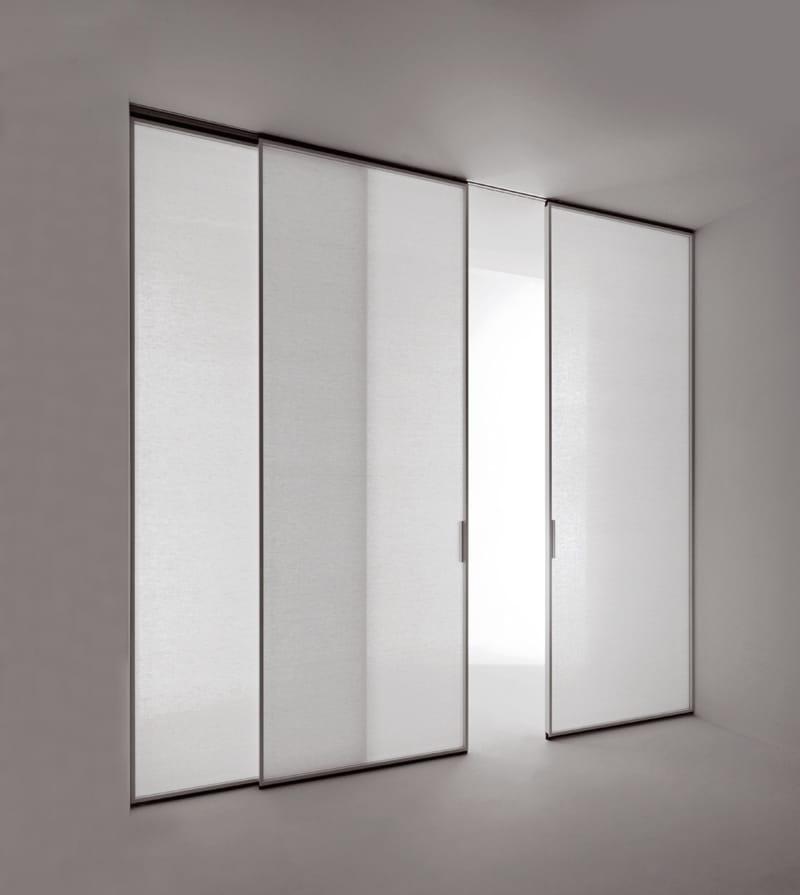Pavilion Minimal, profilo laccato bianco, cristallo con tessuto Arianna - TRE-P&TRE-Più