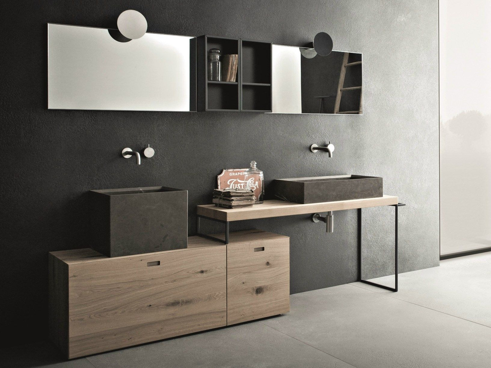 Legno e pietra per la nuova collezione bagno novello for Bagni in legno e pietra