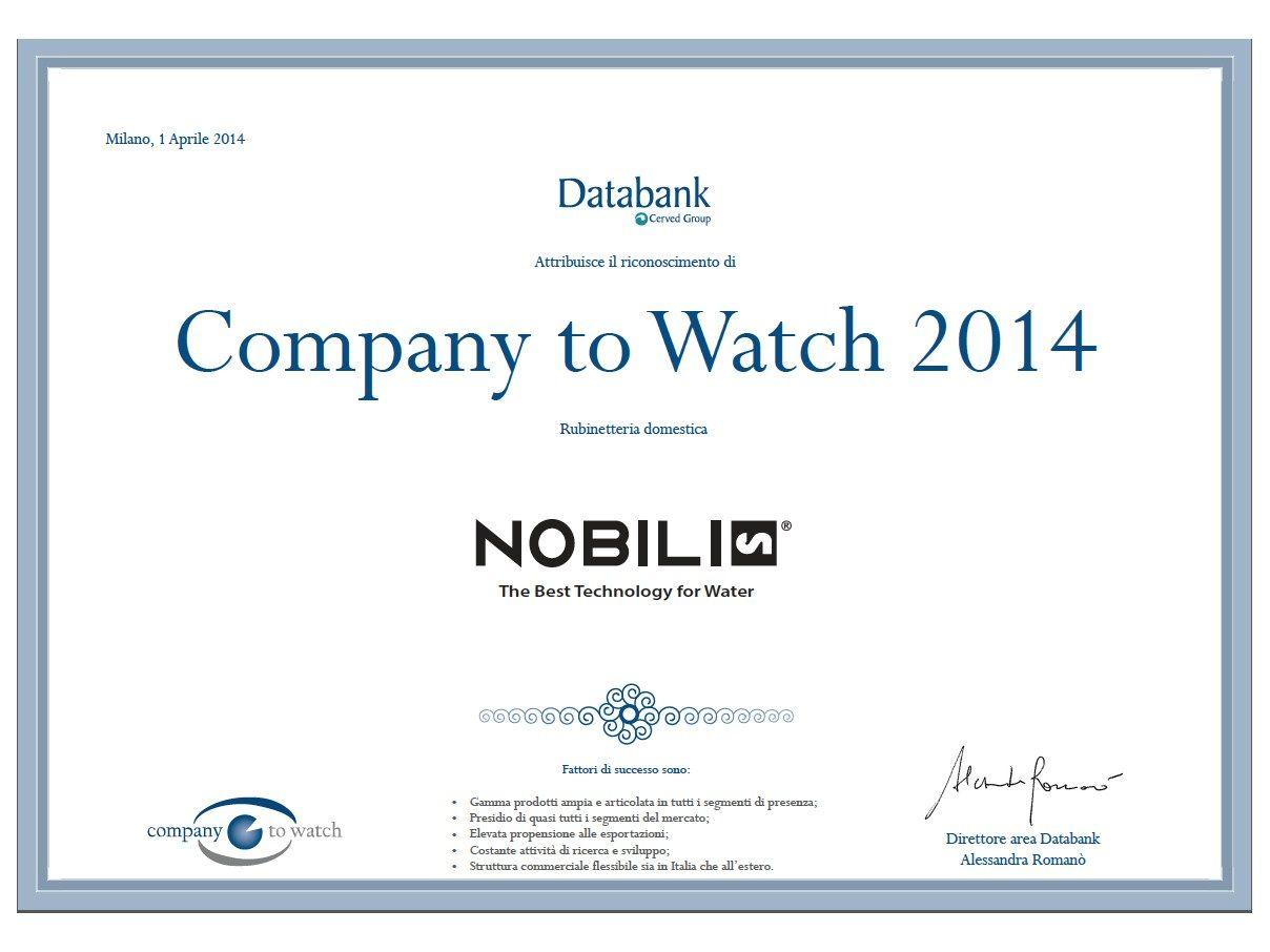 A Nobili Rubinetterie il riconoscimento 'Company to Watch 2014'