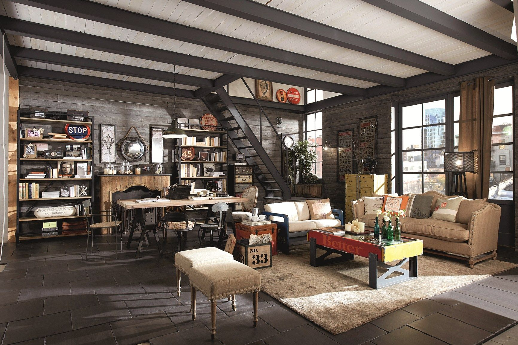 Shabby chic vintage industrial style