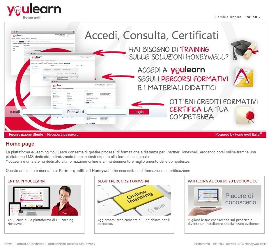 Online il primo corso di formazione tecnica dedicato a Evohome Connected Comfort di Honeywell