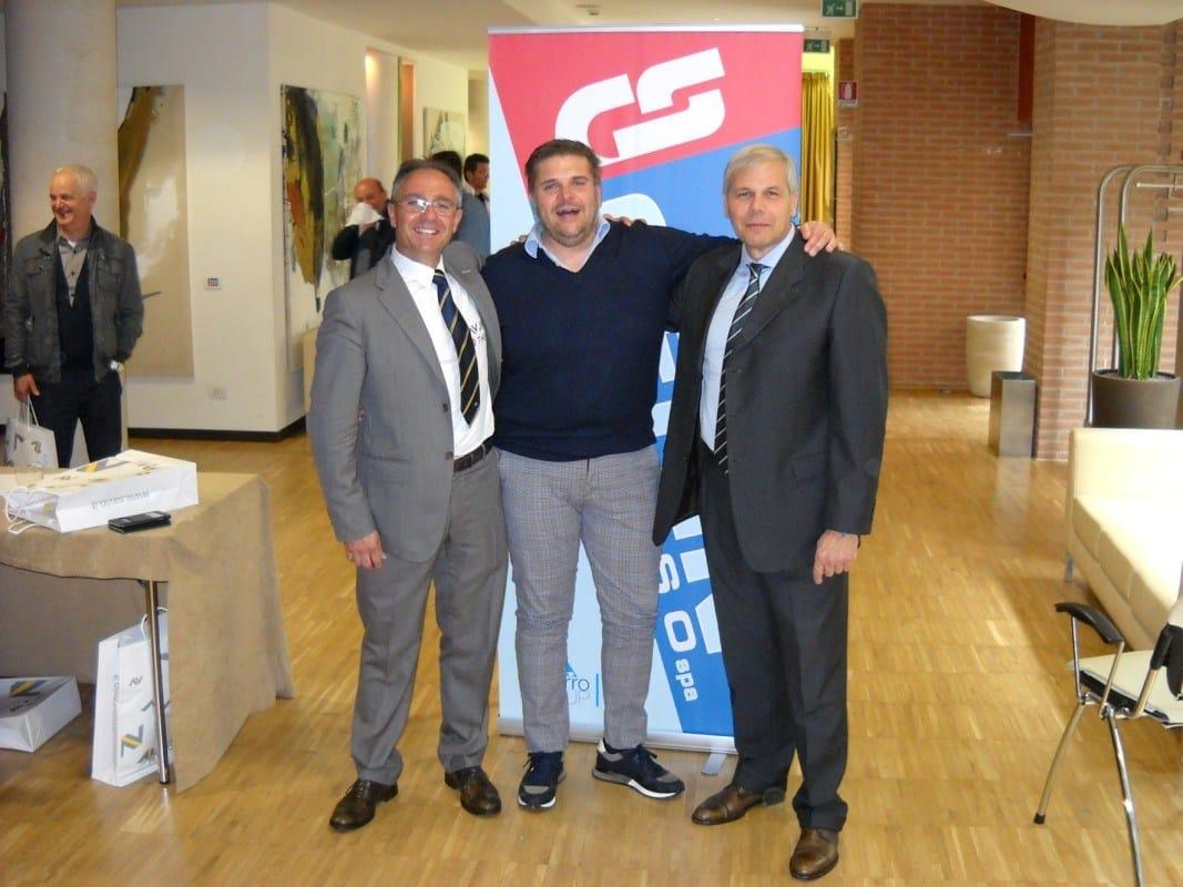 Da sinistra a destra; Valter Noro, agente Savio; Stefano Cerin, titolare della Cerin Ingrosso, Andrea Giostra, Direttore vendita Italia Savio