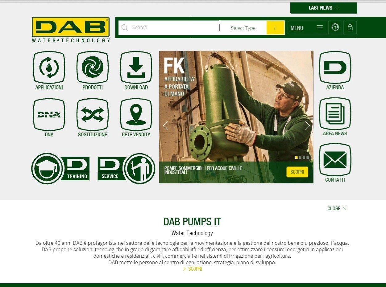 Dab Pumps lancia il suo nuovo sito aziendale