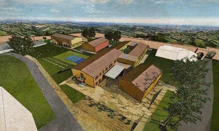 La scuola di San Ginesio vista dall'alto