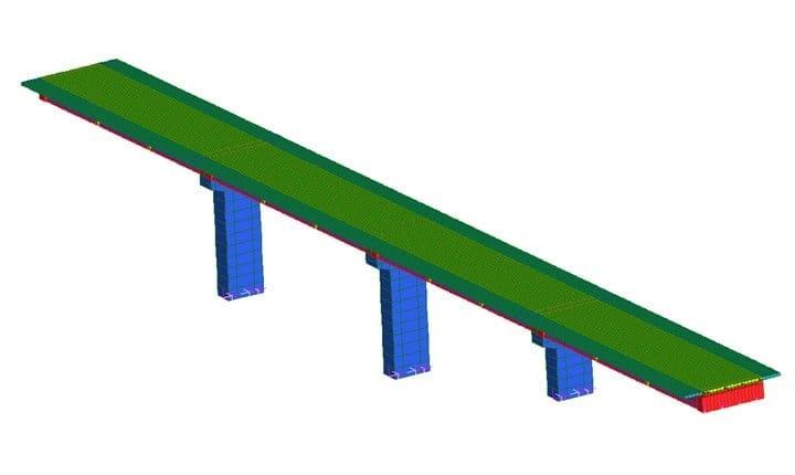 Modello agli elementi finiti del ponte rinforzato