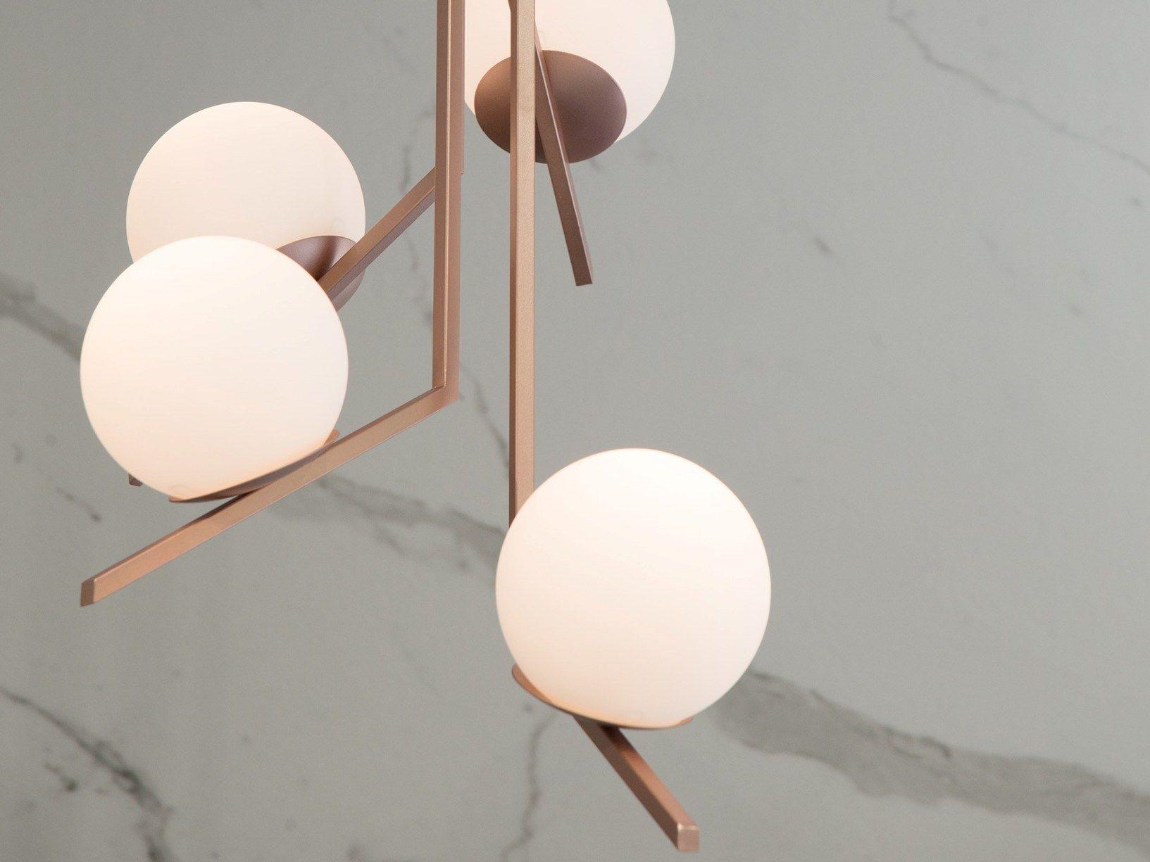 Lampade In Vetro Soffiato : Vetro soffiato bianco oro satinato e oro rosa