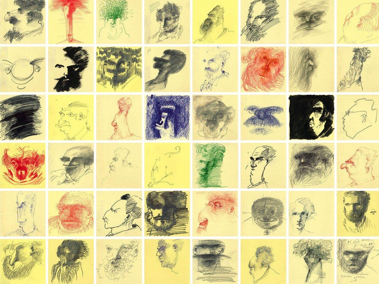 Andrea Ponsi espone il suo 'bestiario' umano sui Post-it