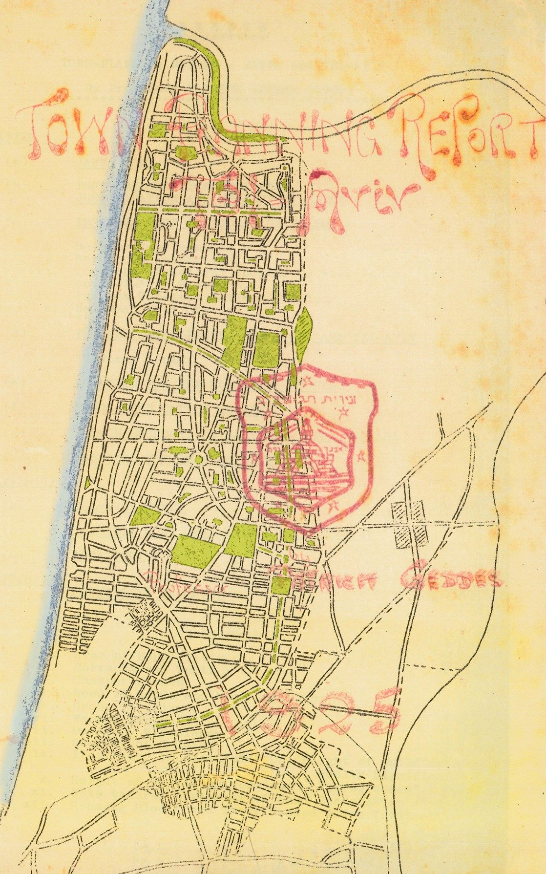 Mappa tratta dalla copertina del documento originale del Prof.Geddes  The Geddes Report Map, 1925