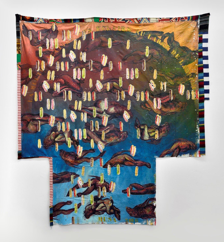 Hassan Mousa La multiplication des éclairs au large de Lampedusa  Ink on textiles 241 x 223 cm  2016  Courtesy of the artist and Galerie Maïa Muller p