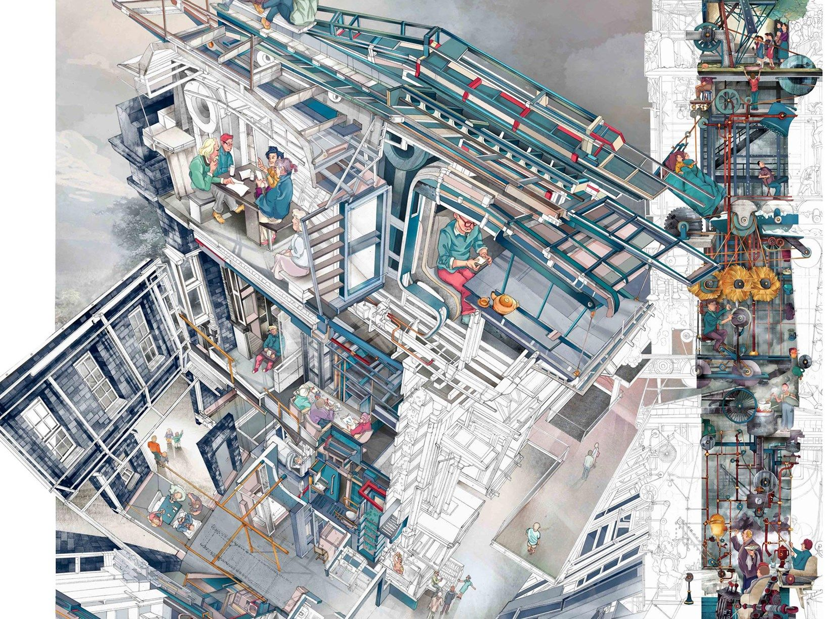 Vincitore Architecture Drawing Prize 2018  Memento Mori: A Peckham Hospice Care Home | © Jerome Xin Hao Ng