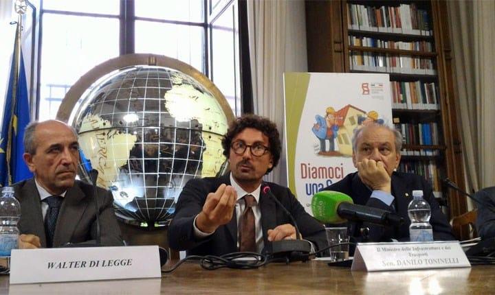 Toninelli: 'renderemo detraibile la diagnosi sismica anche senza lavori'